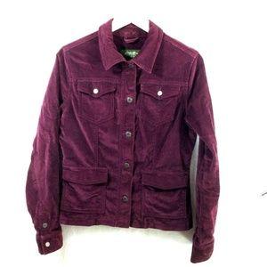 Eddie Bauer Maroon Velvet Button Up Jean Jacket